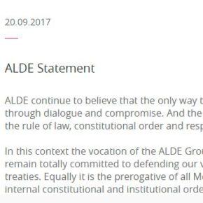 ALDE reitera la importancia del diálogo dentro del orden constitucional y la integridad de España
